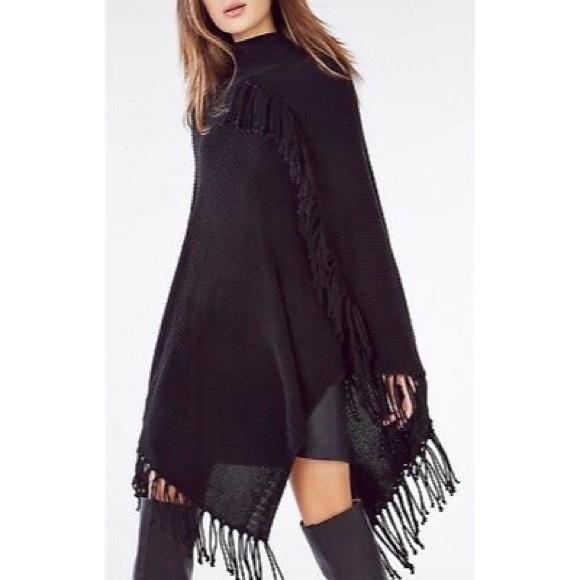 c25ee5d9cfa BcbgMaxAzria Black sweater Poncho Fringe